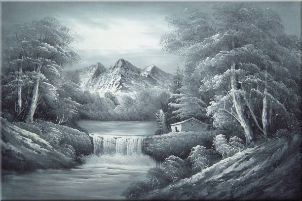 Black and White Cascade, Small House Scene Oil Painting Landscape River Naturalism 24 x 36 Inches