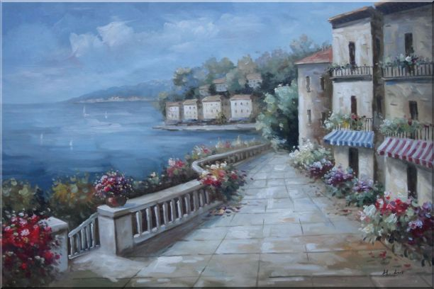 Mediterranean Flower Walkway In Town Oil Painting Impressionism 24 x 36 Inches
