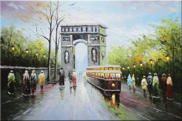 Arc de Triomphe and Avenue des Champs Elysees Oil Painting Cityscape France Impressionism 24 x 36 Inches