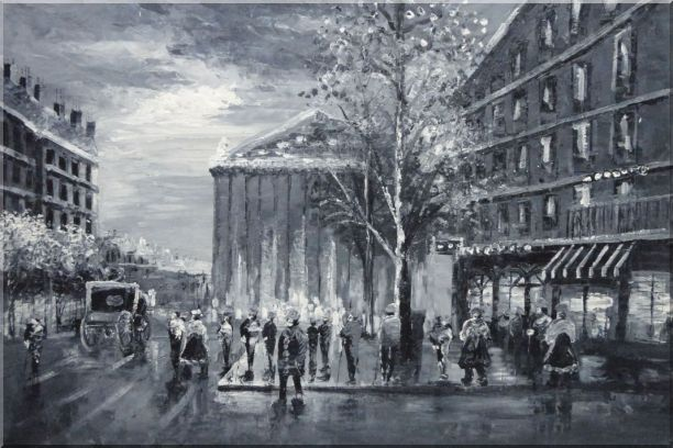 Black and White Paris Street Scene Near Madeleine Oil Painting Cityscape Impressionism 24 x 36 Inches