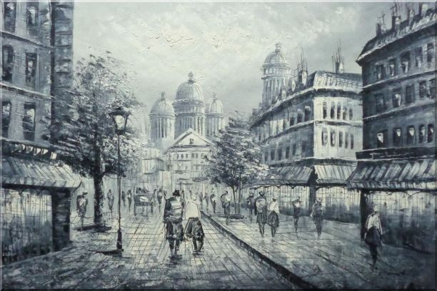 Black and White Basilica of the Sacred Heart of Paris Oil Painting Cityscape Impressionism 24 x 36 Inches