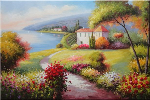 Gorgeous Italy Tuscany Seashore Landscape Oil Painting Mediterranean Naturalism 24 x 36 Inches