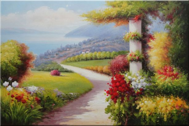 Small Path In Stunning Mediterranean Garden View Oil Painting Naturalism 24 x 36 Inches