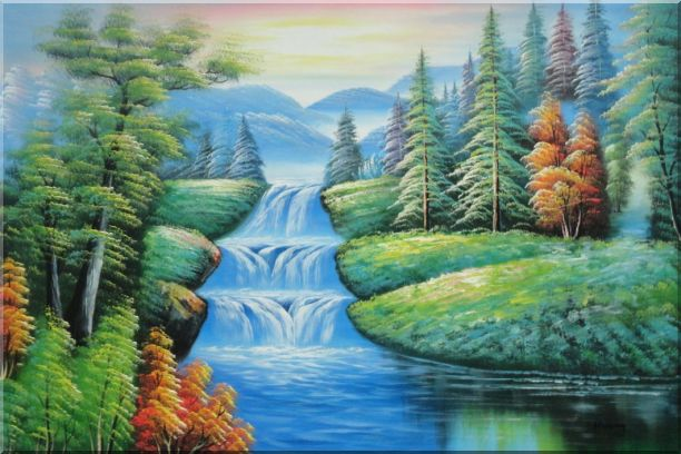 Water Falls in Green Spring with Forest and Mountain Oil Painting Landscape Waterfall Naturalism 24 x 36 Inches