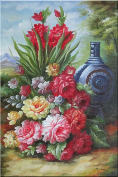 Peonies, Giant Blue Vase in a Landscape Oil Painting Flower Bouquet Classic 36 x 24 Inches