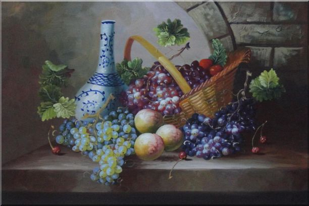 Still Life of Grapes, Peaches, Basket and Blue Pattern White Jar Oil Painting Fruit Classic 24 x 36 Inches