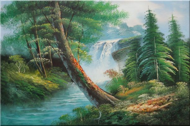 Waterfall and Cascades Down from Green Alpine Forest Oil Painting Landscape Naturalism 24 x 36 Inches