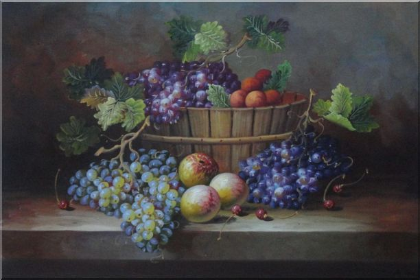 Cherry, Purple And Green Grapes, Peaches and Pears In a Basket Oil Painting Still Life Fruit Classic 24 x 36 Inches