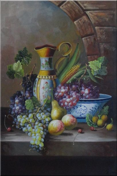 Delicate Jar and Fruit Bowl with Grapes, Peaches, Pears, Cherry On Marble Ledge Oil Painting Still Life Classic 36 x 24 Inches