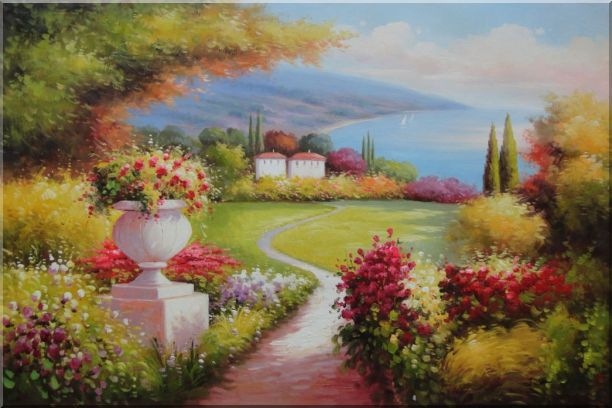 Garden of Paradise with Amazing Sea View at Mediterranean Coast Oil Painting Naturalism 24 x 36 Inches