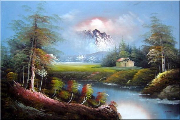 Pond-Side Cottage Under Snow Mountain Oil Painting Landscape River Naturalism 24 x 36 Inches
