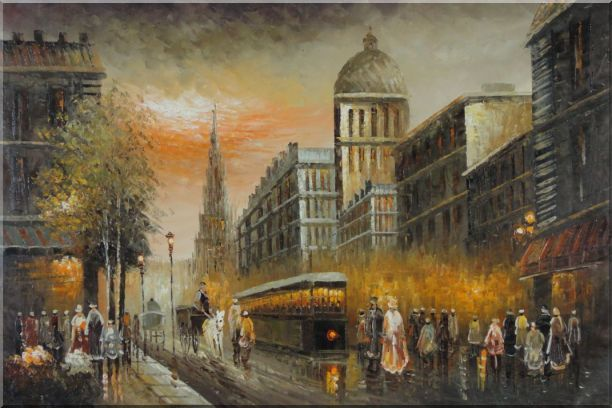 Early Nineteenth Century American Street Scene Oil Painting Cityscape France Impressionism 24 x 36 Inches