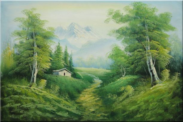 Small Cottage on An Early Spring Country Trail Oil Painting Landscape Mountain Naturalism 24 x 36 Inches