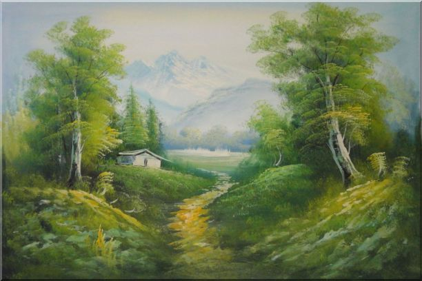 A Peaceful Trail in Spring Countryside Oil Painting Landscape River Naturalism 24 x 36 Inches
