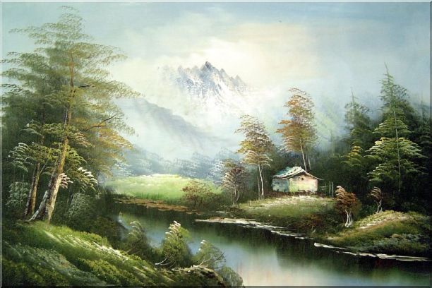 Tranquility Oil Painting Landscape River Naturalism 24 x 36 Inches