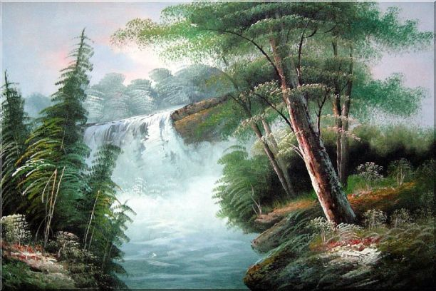 Fantastic Waterfall Scenery Oil Painting Landscape Naturalism 24 x 36 Inches