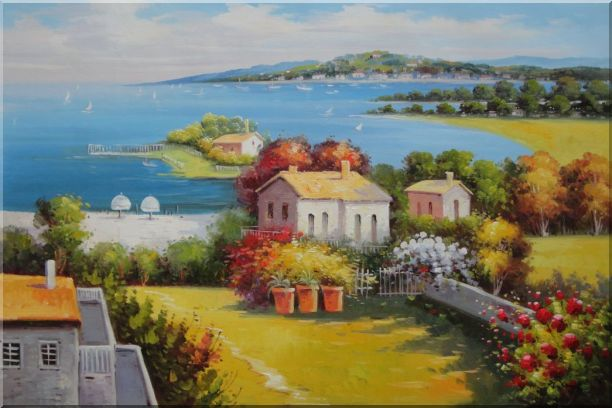 Mediterranean Paradise with House, Garden and Beautiful Sea View Oil Painting Naturalism 24 x 36 Inches