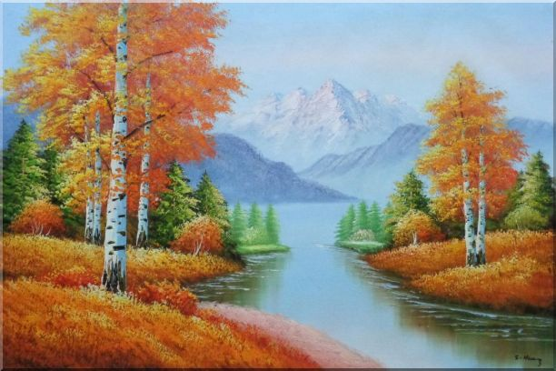 Riverside Autumn-time Golden Aspen Forest Scenery Oil Painting Landscape Tree Naturalism 24 x 36 Inches