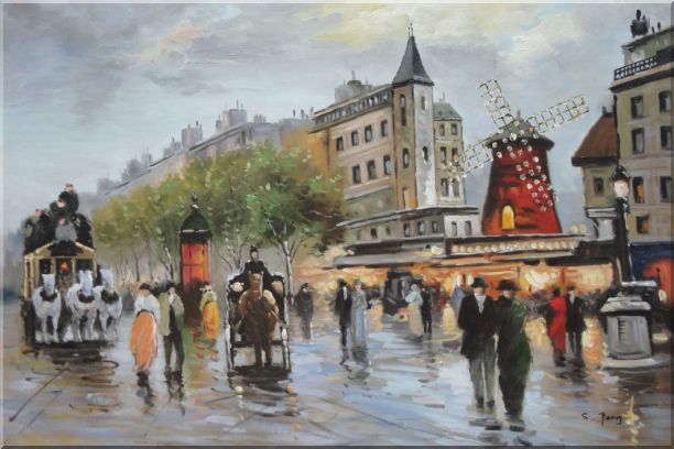 People Walk on Paris Street at Dusk Oil Painting Cityscape France Impressionism 24 x 36 Inches