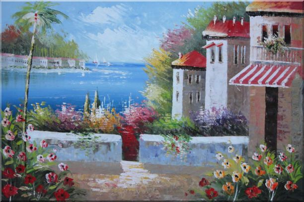 Under the Cozy Mediterranean Summer Sunshine Oil Painting Naturalism 24 x 36 Inches