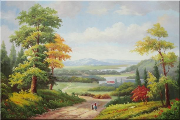 Grandma and I Walking in Peaceful Countryside Landscape Oil Painting River Classic 24 x 36 Inches