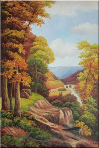 River Bridge With Tall Trees in Autumn Oil Painting Landscape Classic 36 x 24 Inches