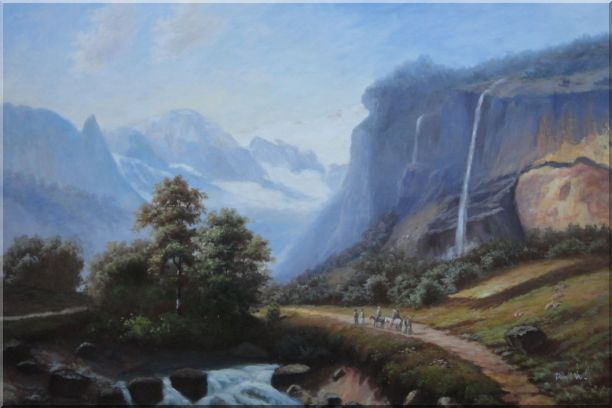 Stream of Water Pour from High Mountain Oil Painting Landscape Waterfall Classic 24 x 36 Inches