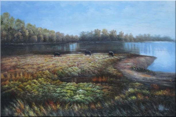 Herd Feed Themselves on Lakeside Grassland Oil Painting Landscape River Classic 24 x 36 Inches