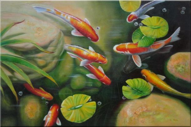 Koi Fish Pond with Lotus Oil Painting Animal Marine Life Asian 24 x 36 Inches