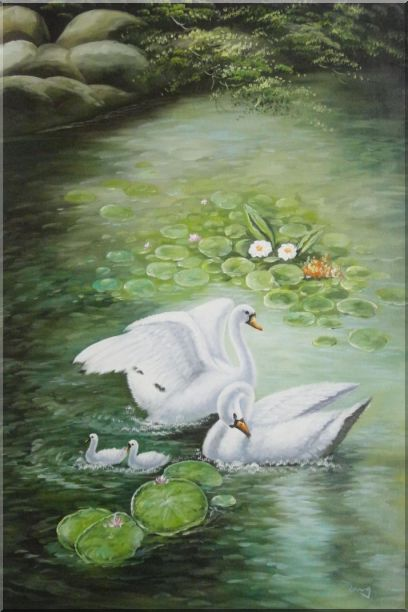 White Swan Family Enjoy Pleasant Spring Time On Lotus Pond Oil Painting Animal Naturalism 36 x 24 Inches