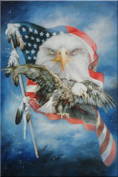 Two Blad Eagles With American Flag Oil Painting Animal Modern 36 x 24 Inches