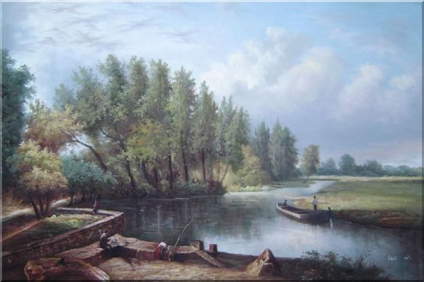 River Voyage Oil Painting Landscape Classic 24 x 36 Inches