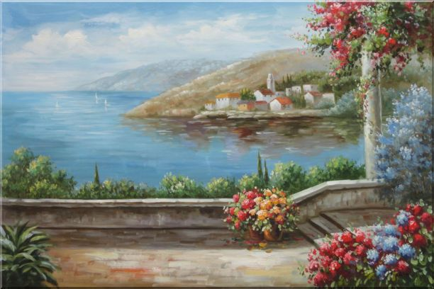 Patio, Red-Roof House, Flower Gardens of Mediterranean Coast Oil Painting Naturalism 24 x 36 Inches
