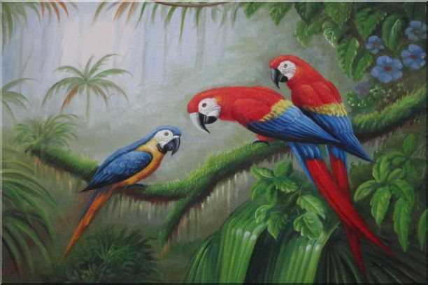 One Blue and Two Red Parrots Perched on Tree Oil Painting Animal Classic 24 x 36 Inches
