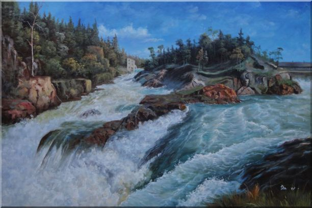 River Rushing Flows Oil Painting Landscape Classic 24 x 36 Inches