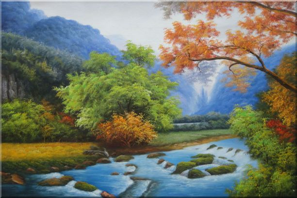 Water Stream in a Gorgeous Landscape with Mountain and Trees Oil Painting River Naturalism 24 x 36 Inches