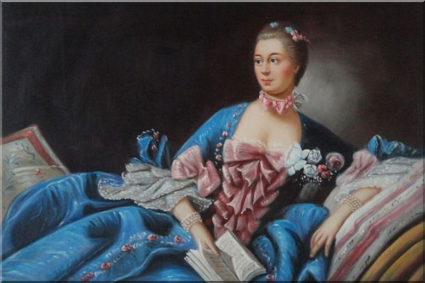 Lady In Gorgeous Costumes Reclining On Bed With Book Oil Painting Portraits Woman Classic 24 x 36 Inches
