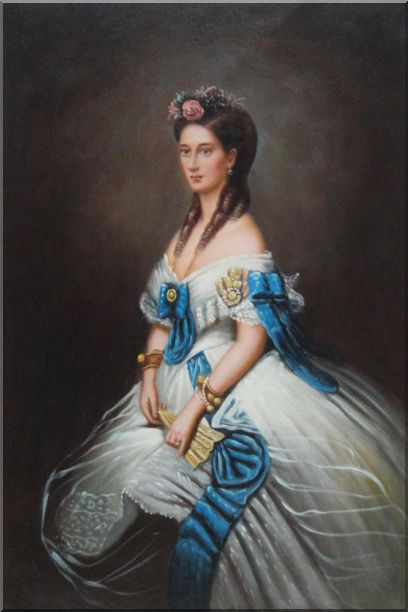 Elegant Lady In White Dress With Blue Lace Oil Painting Portraits Woman Classic 36 x 24 Inches