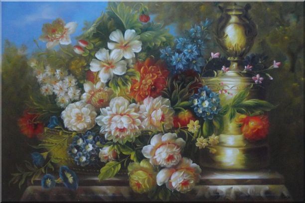 Flower Banquet and Decorative Jar On Stone Plinth Outdoor Oil Painting Still Life Bouquet Classic 24 x 36 Inches