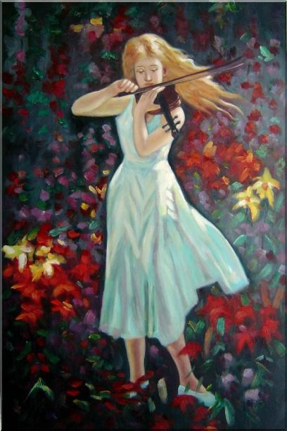 Two Girls Play Violins - 2 Canvas Set 2-canvas-set,portraits,woman, musician impressionism  36 x 48 inches