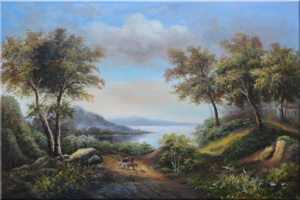 Beautiful Lakeside Landscape Oil Painting River Classic 24 x 36 Inches
