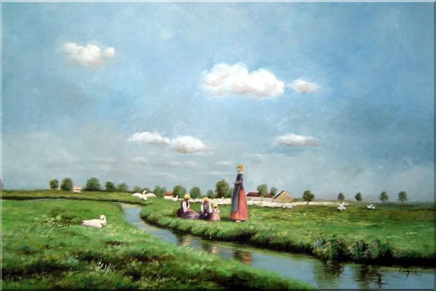 A Creek Passing Meadow Oil Painting Landscape River Classic 24 x 36 Inches
