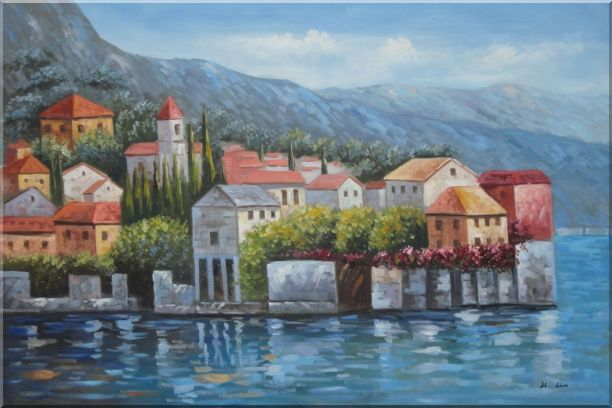 Mediterranean Coast Harbor Village of Italy Oil Painting Naturalism 24 x 36 Inches
