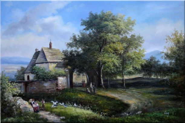 Rural Village Scenery Oil Painting Classic 24 x 36 Inches