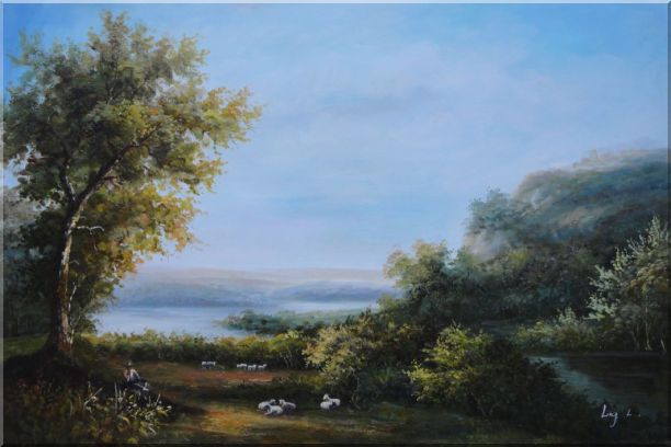Goats and Shepherd Relaxing in Green Field Oil Painting Landscape River Classic 24 x 36 Inches