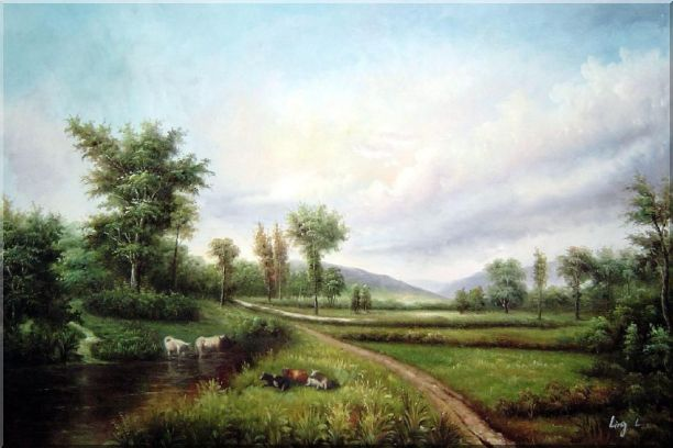 Pond-side Enjoyable Cows and Bulls Oil Painting Landscape River Classic 24 x 36 Inches