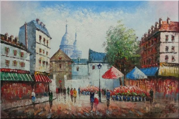 Paris Street Scene in Early 19th Century Oil Painting Cityscape France Impressionism 24 x 36 Inches