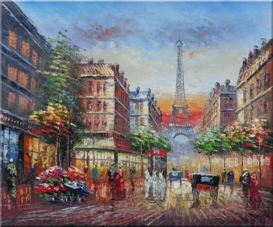 A Paris Street Toward Eiffel Tower Oil Painting Cityscape France Impressionism 20 x 24 Inches
