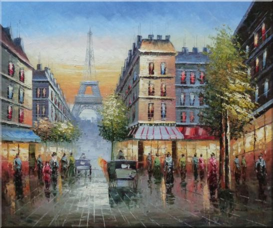 Busy Street, Eiffel Tower on the Dusk Oil Painting Cityscape France Impressionism 20 x 24 Inches