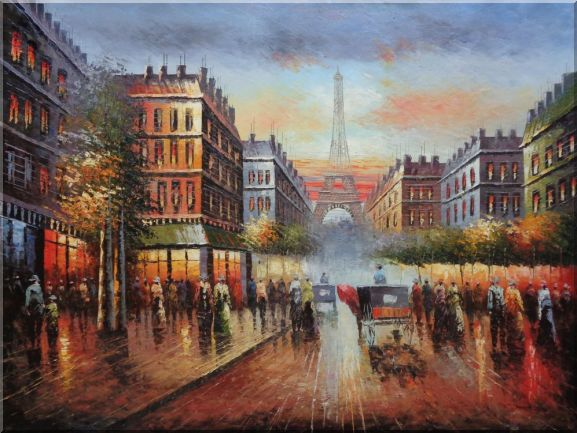 Busy Street, Eiffel Tower on the Dusk Oil Painting Cityscape France Impressionism 36 x 48 Inches